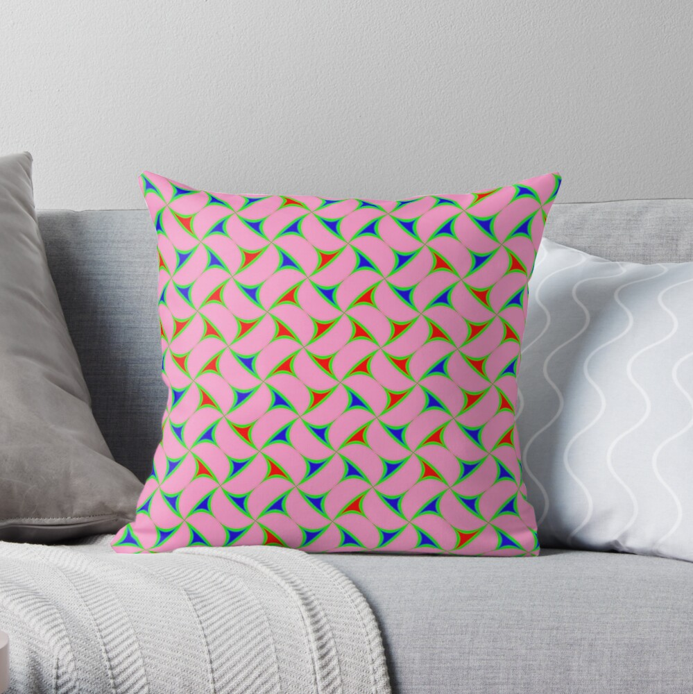Thorny Abstract Pattern - Pink / Red / Blue Throw Pillow