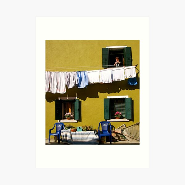 Laundry Day in Burano Art Print
