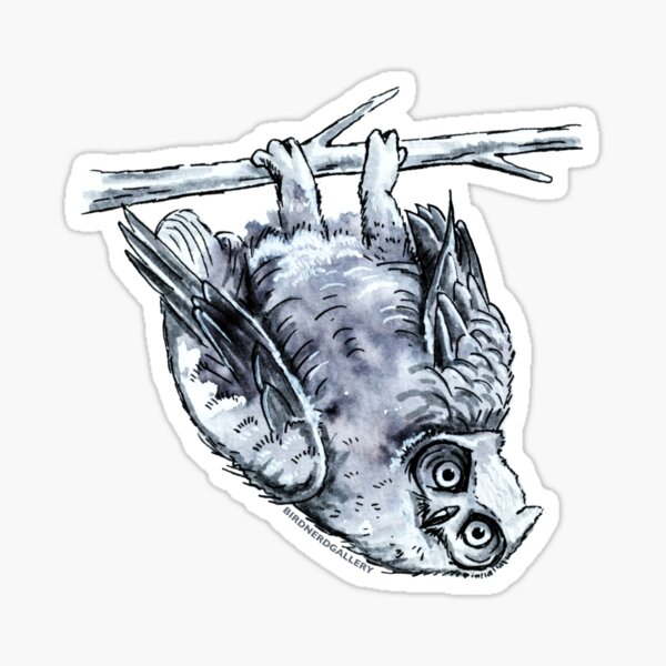 Great Horned Owl Drawing Sticker