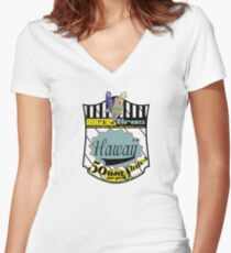 usa hawaii by rogers bros Women's Fitted V-Neck T-Shirt