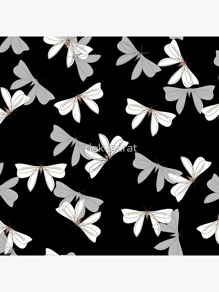 Moths - Gray, White on Black by tiokvadrat