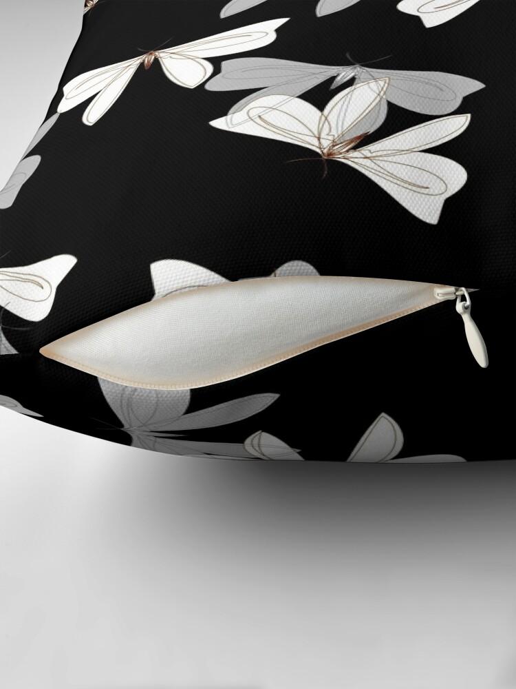 Alternate view of Moths - Gray, White on Black Throw Pillow