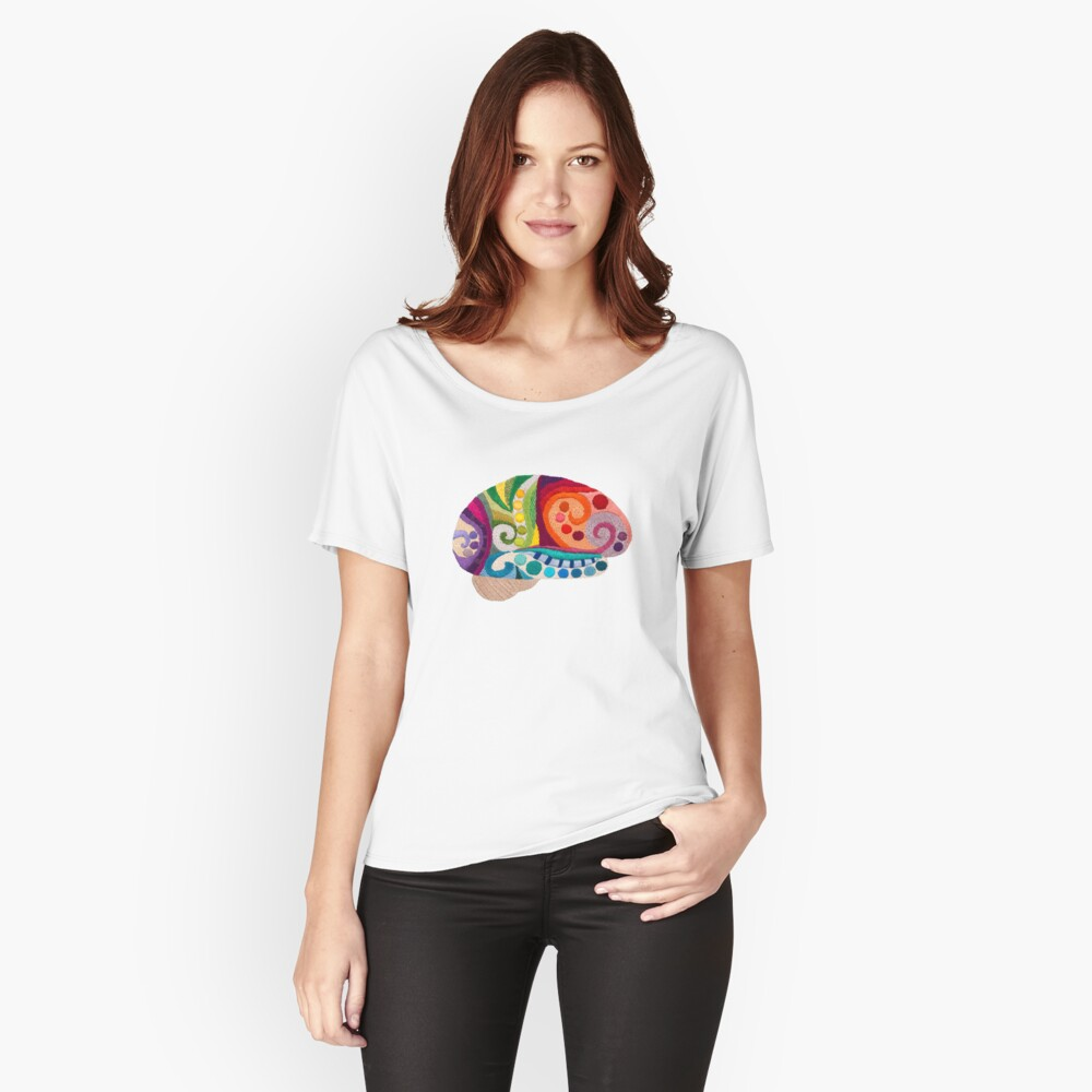 Flow Brain - Embroidered Look - A sampler of stitches highlighting the Cerebral lobes Relaxed Fit T-Shirt