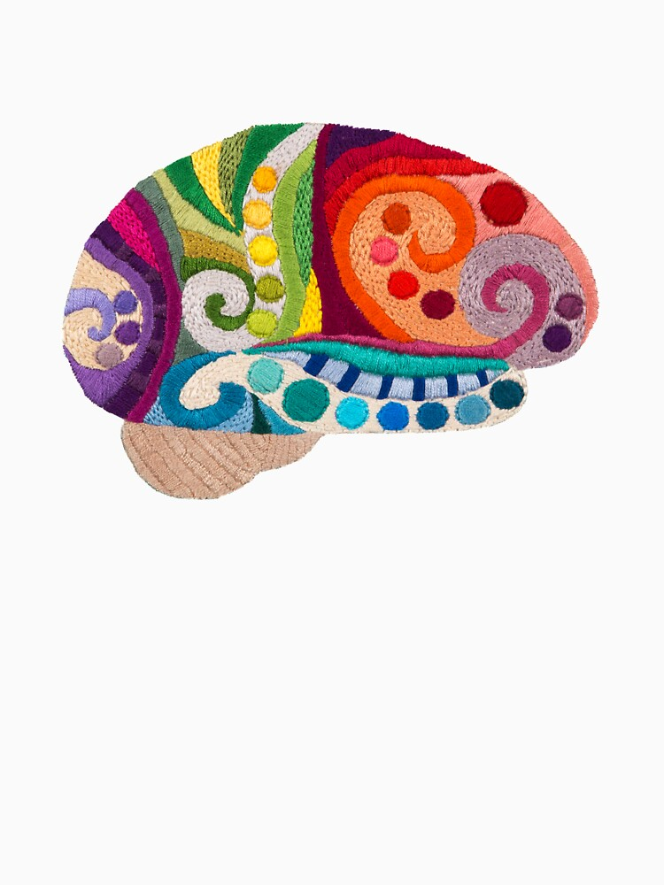 Flow Brain - Embroidered Look - A sampler of stitches highlighting the Cerebral lobes by Laurabund