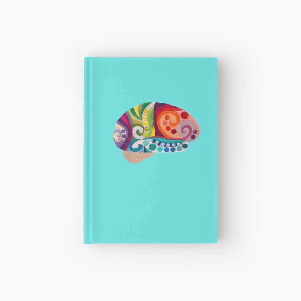 Flow Brain - Embroidered Look - A sampler of stitches highlighting the Cerebral lobes Hardcover Journal