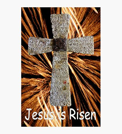 Lord's prayer cross with fireworks Photographic Print