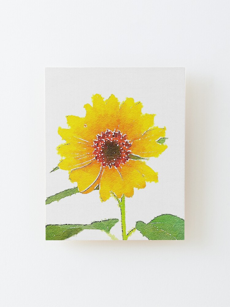 Alternate view of Sunflower in Watercolor Mounted Print