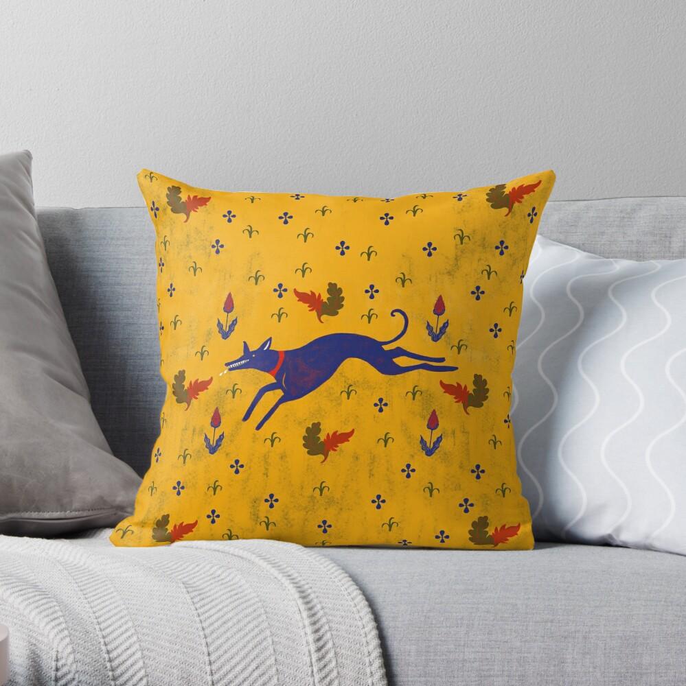 Blue dog running  Throw Pillow