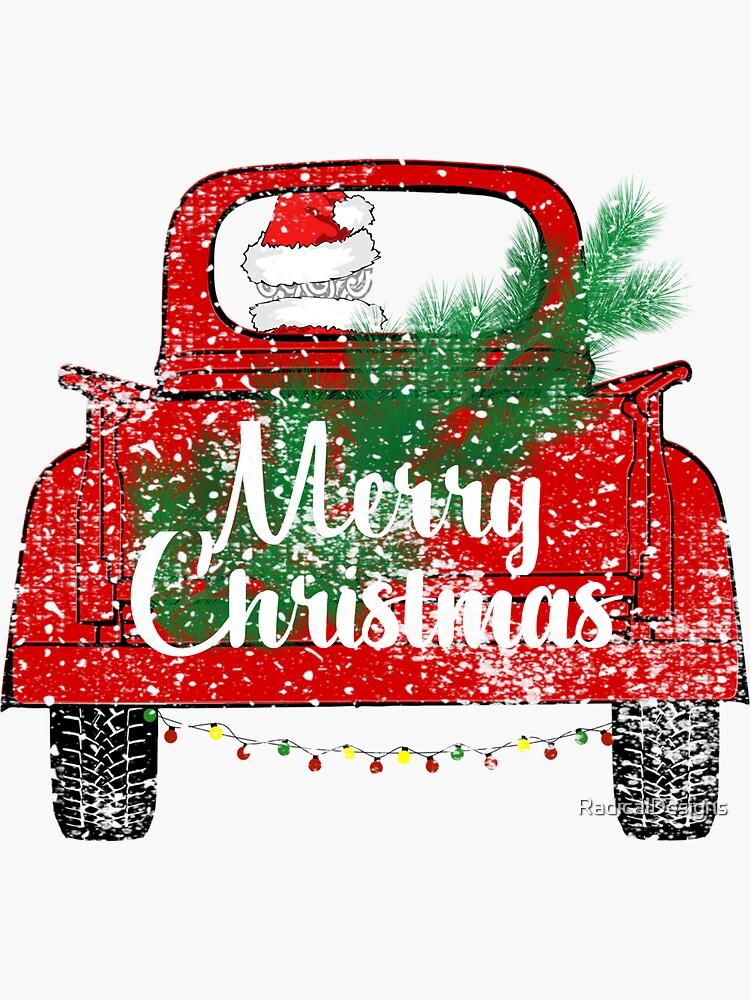 Red Merry Christmas Vintage Red Santa Truck Sticker Shirt Mug Gifts by RadicalDesigns
