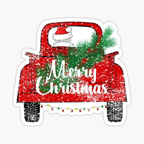 Red Merry Christmas Vintage Red Santa Truck Sticker Shirt Mug Gifts Sticker
