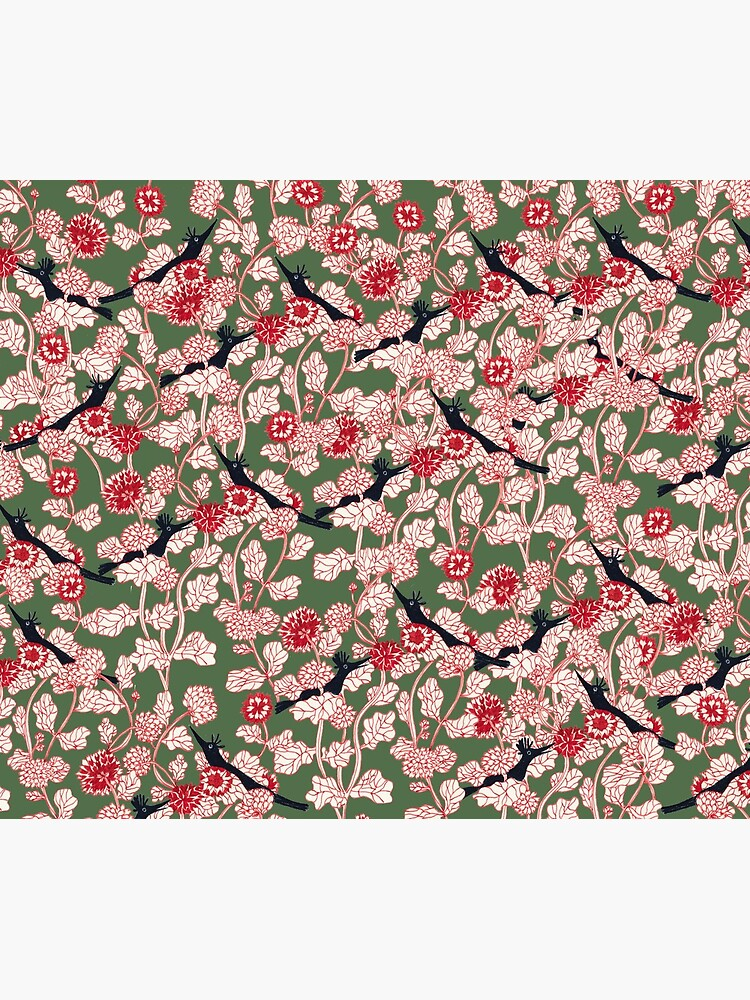 pattern with red flowers and blue bird by spoto