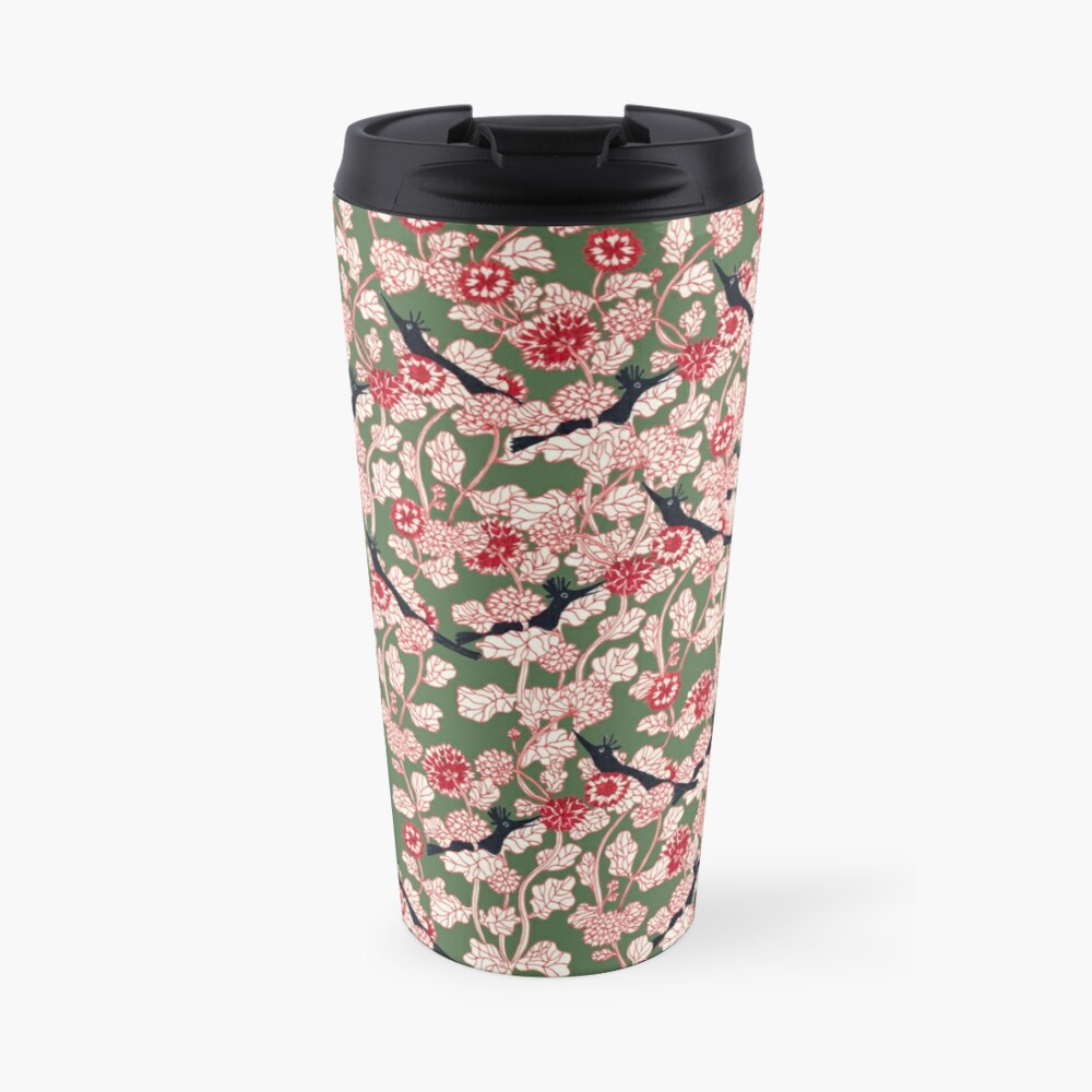 pattern with red flowers and blue bird Travel Mug