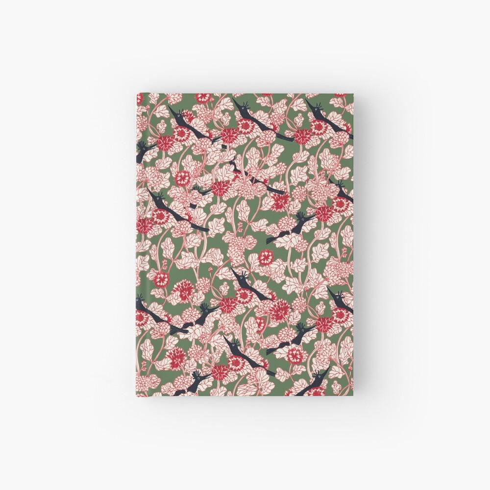 pattern with red flowers and blue bird Hardcover Journal