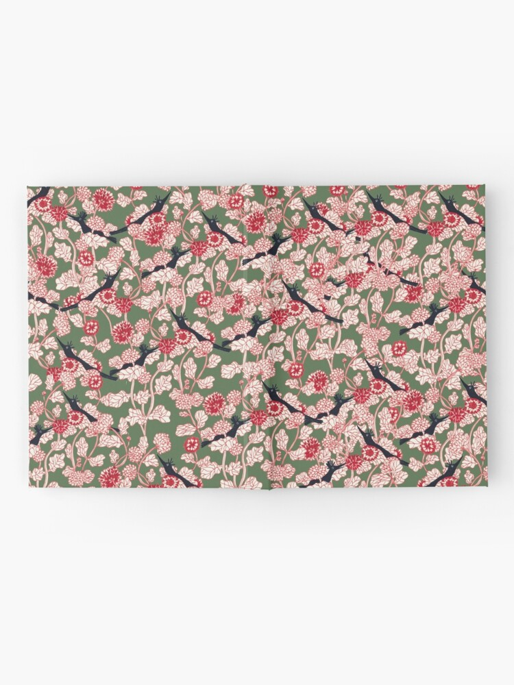 Alternate view of pattern with red flowers and blue bird Hardcover Journal