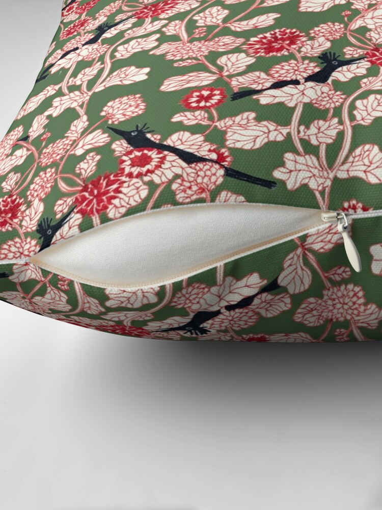 Alternate view of pattern with red flowers and blue bird Throw Pillow