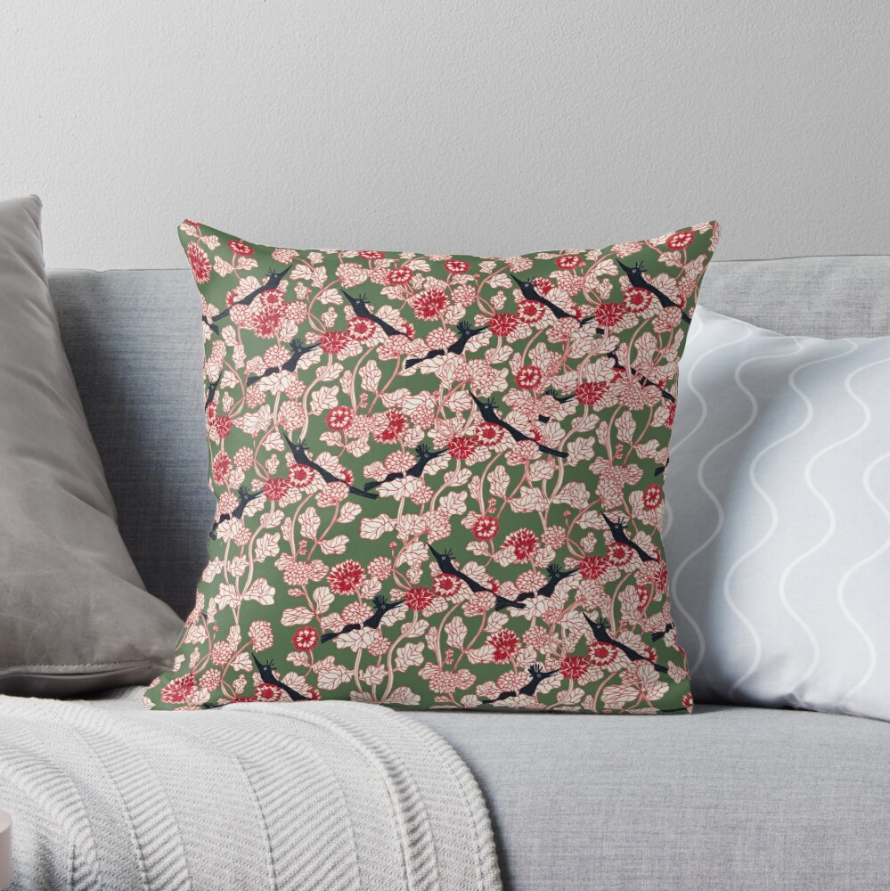 pattern with red flowers and blue bird Throw Pillow