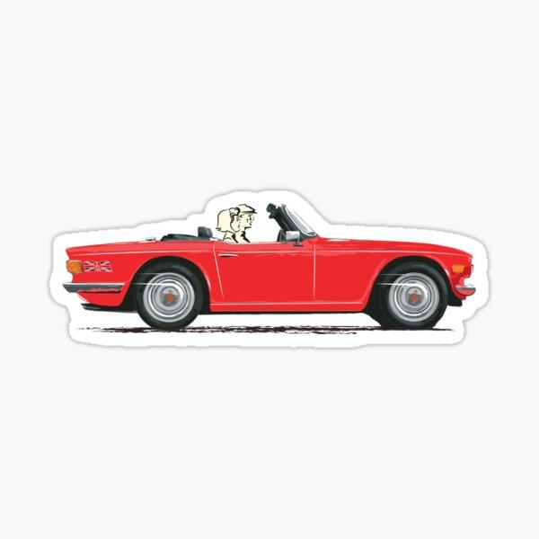 Signal Red Triumph TR6 – a Classic British Sports Car Sticker