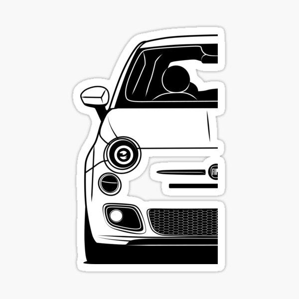 Fiat 500 Front Best Shirt Design Sticker