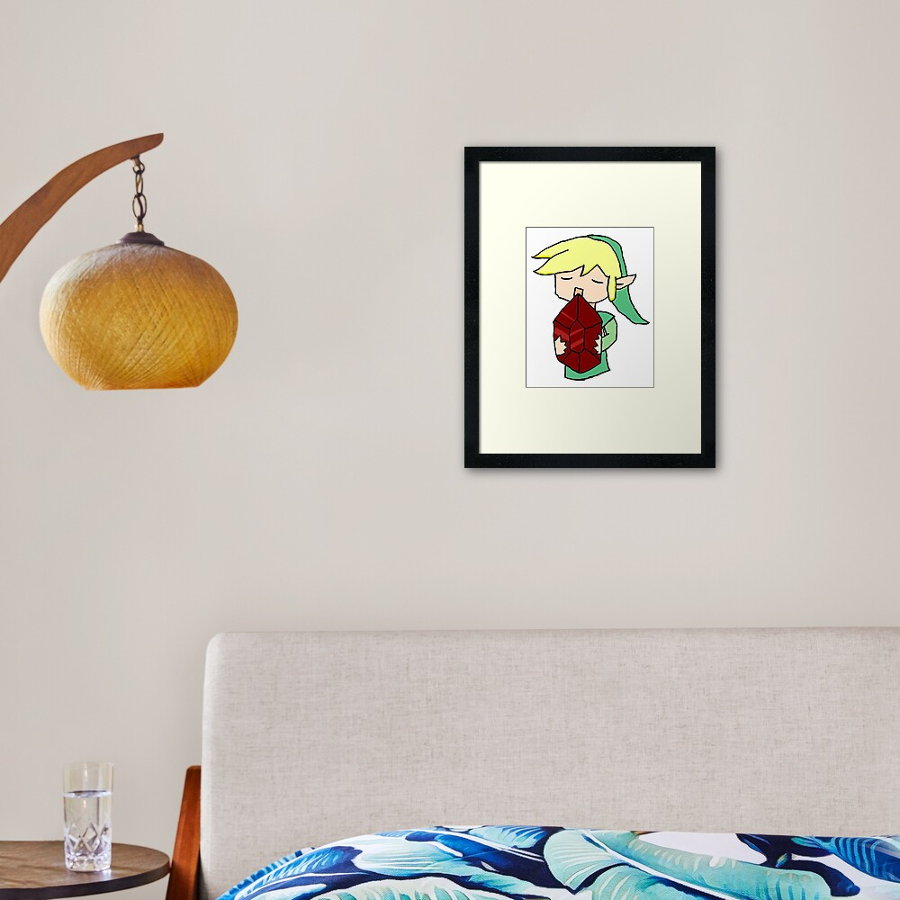 Link and a red rupee Framed Art Print