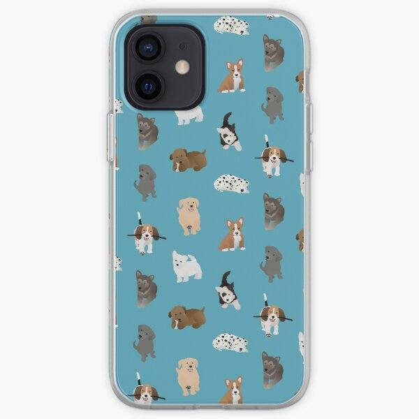 puppies (blue) iPhone Soft Case