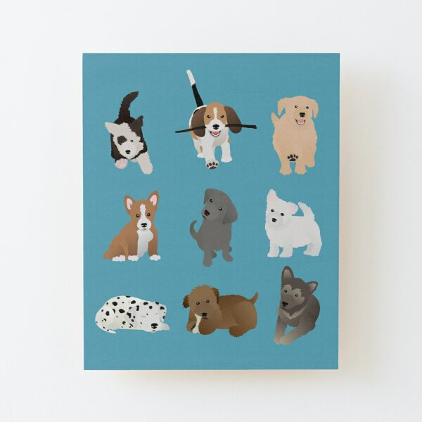 puppies (blue) Wood Mounted Print