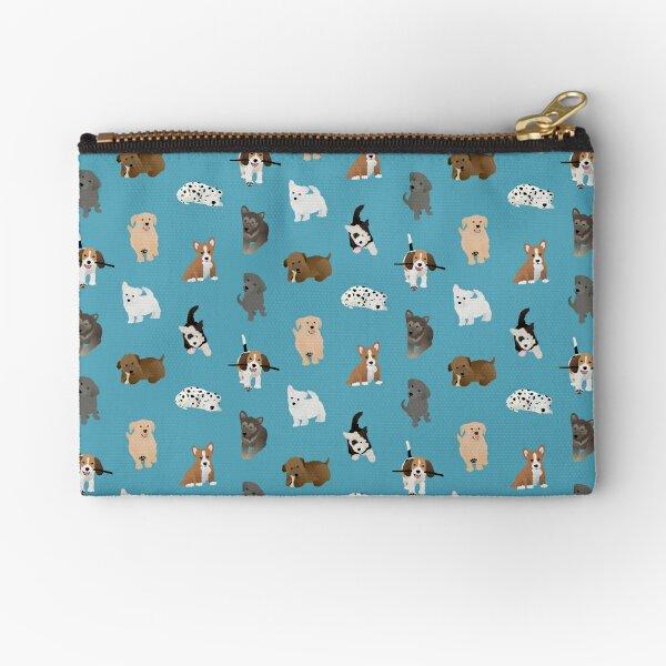 puppies (blue) Zipper Pouch