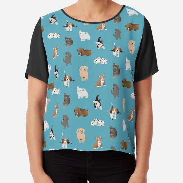 puppies (blue) Chiffon Top