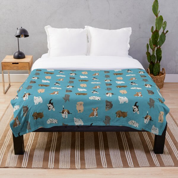 puppies (blue) Throw Blanket