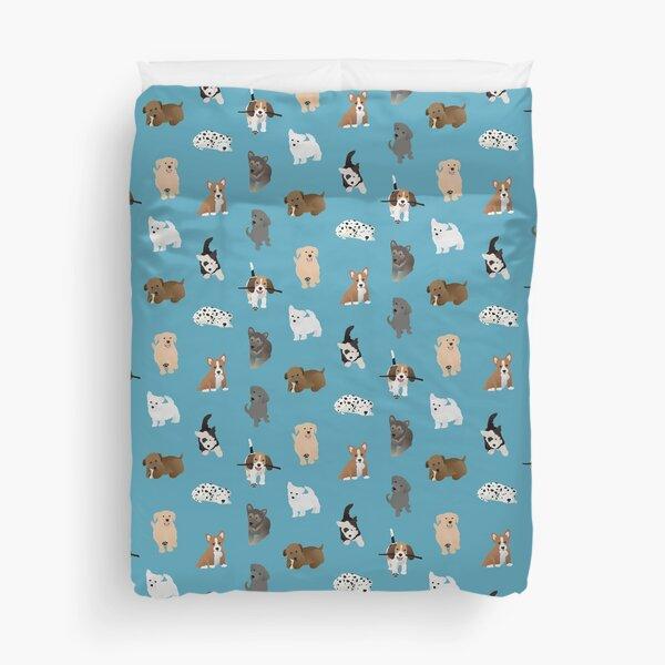 puppies (blue) Duvet Cover