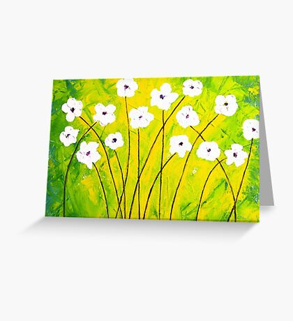 White Flower Abstract Greeting Card