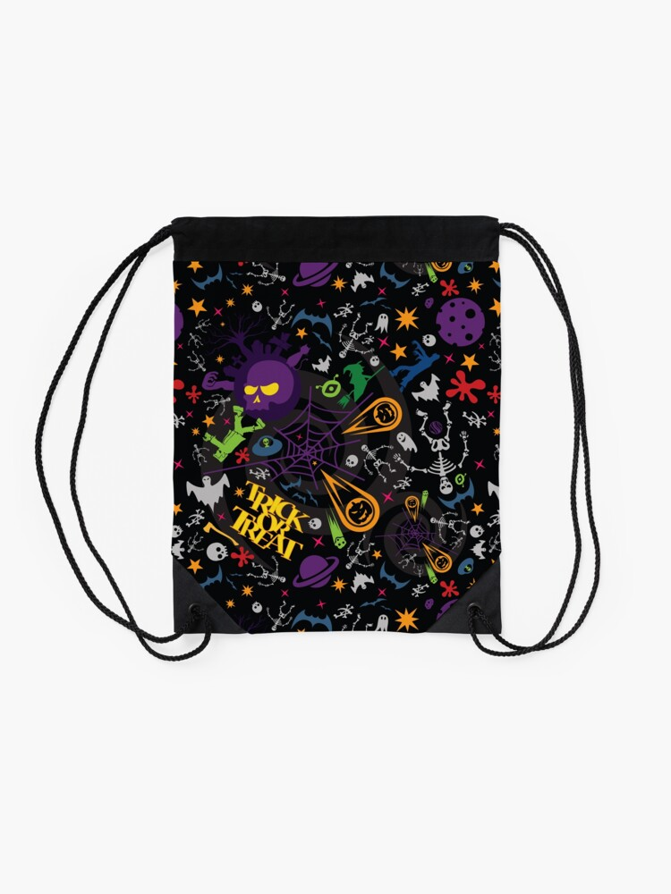Alternate view of Space is the Place for Halloween Drawstring Bag