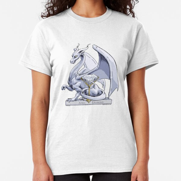 Birthstone Dragon: April Diamond Illustration Classic T-Shirt