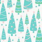 Pastel Christmas Tree Forest by tanyadraws
