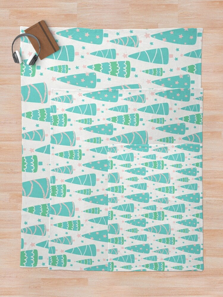 Alternate view of Pastel Christmas Tree Forest Throw Blanket