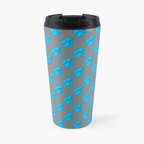 Electric guitar with plectrum in neon blue Travel Mug