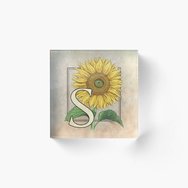 S is for Sunflower Acrylic Block