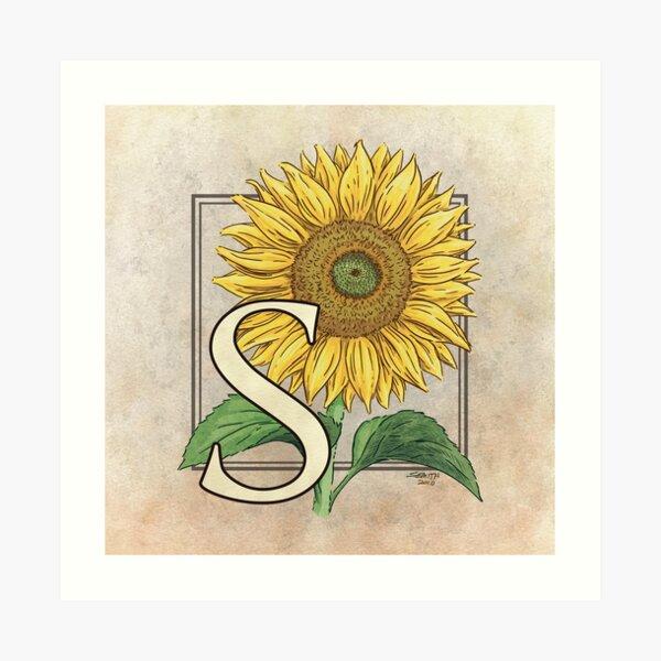 S is for Sunflower Art Print
