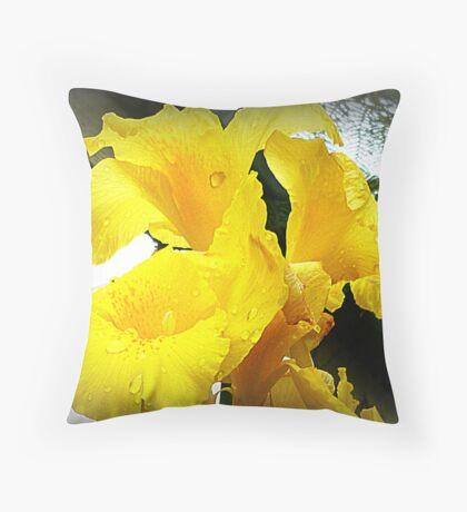 Yellow Canna - friend's Garden Throw Pillow