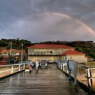 Rainbow over Merimbula Wharf by Christopher Meder Photography