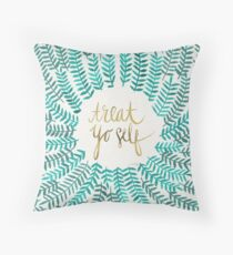 Treat Yo Self – Turquoise Throw Pillow