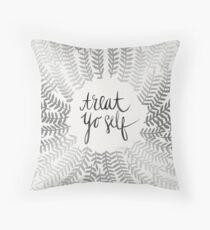 Treat Yo Self – Silver Throw Pillow