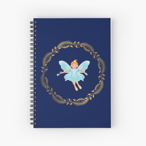 The Nutcracker Christmas Special - Nutcracker Scene -Sugar Plum Fairy in Golden Christmas Wreath (Royal Blue) Spiral Notebook