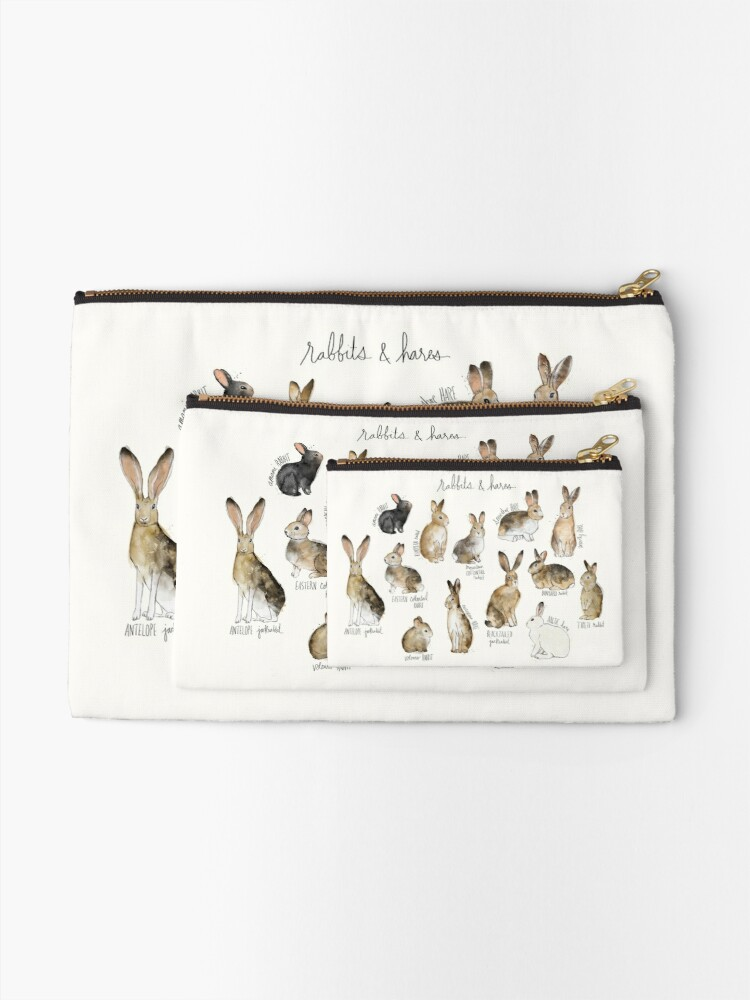 Alternate view of Rabbits & Hares Zipper Pouch