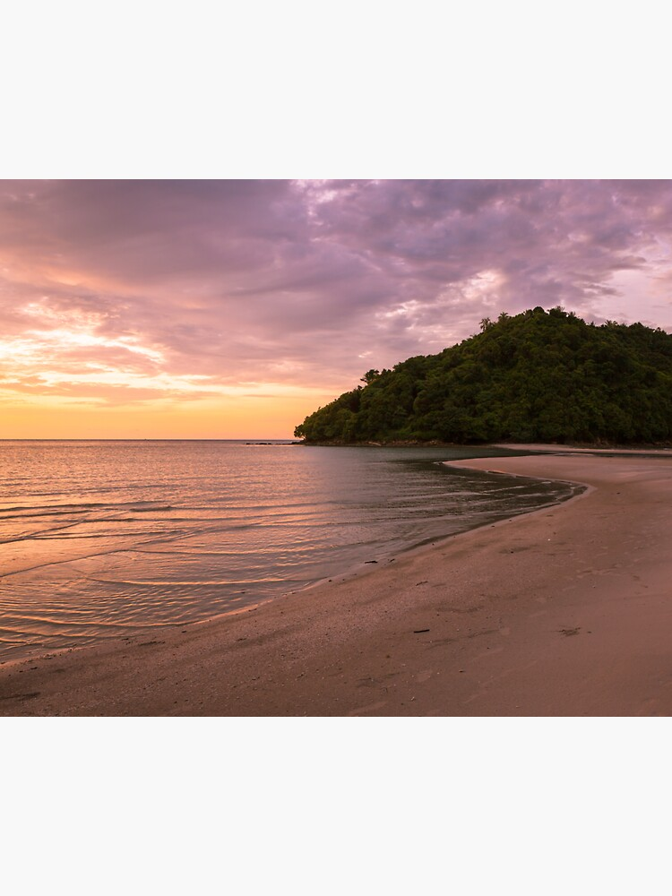 Tropical island and paradise beach at sunset by Juhku