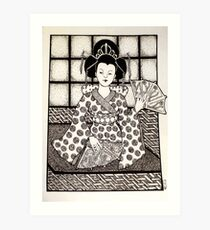 Geisha in Black and White Art Print