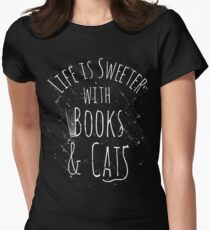 life is sweeter with books & cats #white T-Shirt