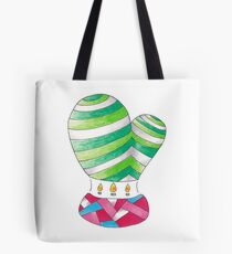 Hot Air Cactus Balloon | Twin Branched Green White Tote Bag