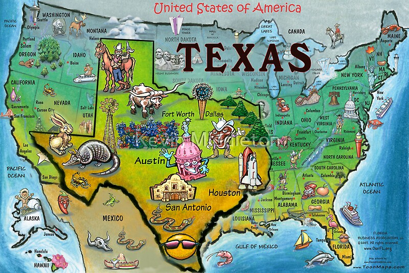 Texas USA Cartoon Map