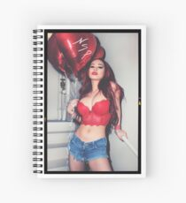 "Sexy Fashion Photography  - ""Sexy Asian Girl with Red Hair with Red Heart Balloons - Modern Pinup"" Featuring The Beautiful Model Yuni Kaye  Spiral Notebook"