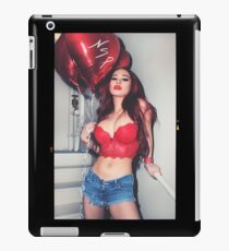 """Sexy Fashion Photography  - """"Sexy Asian Girl with Red Hair with Red Heart Balloons - Modern Pinup"""" Featuring The Beautiful Model Yuni Kaye  iPad Case/Skin"""